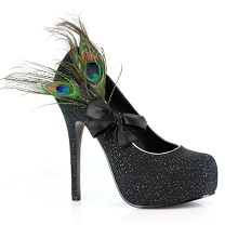 Black Iridescent Peacock Heels